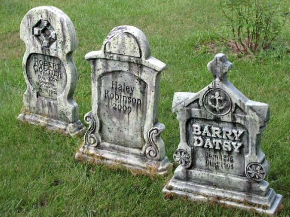 Tombstones made from insulation foam and a Hot Wire carving tool