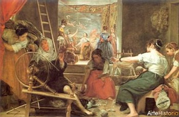 Velasquez' Fable of Arachne. The story is told on the tapestry in the background, while the working women in the front spin and weave.