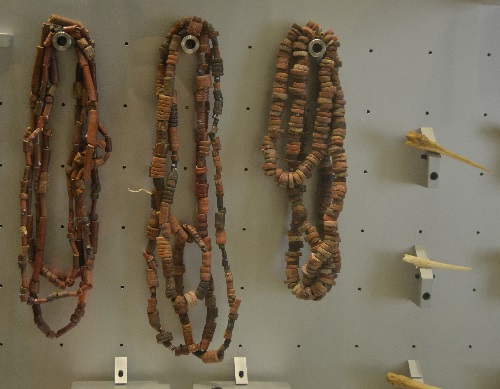 Guanche necklaces and bone pins.