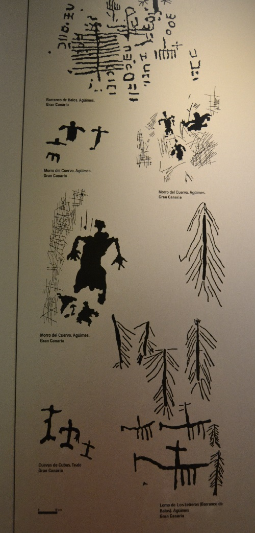 Museum drawing of some of the more common rock art motifs.