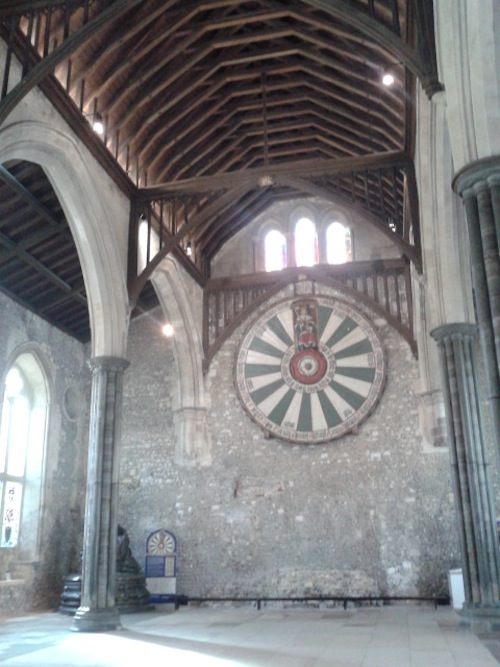 The Round Table hangs inside Winchester Castle's Great Hall. Photo courtesy Almudena Alonso-Herrero.