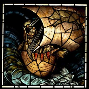 The Viking Ship, stained glass by Edward Burne