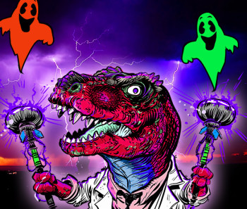 """Dinosaur Dracula. Read more about Dino Drac's Halloween Countdown after the """"Read More"""" jump."""