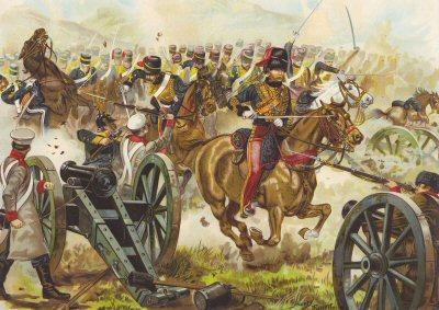 British Hussars attack Russian guns at Balaklava
