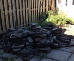 This is our rock pile. This is where the enemy will stop. As long as the enemy doesn't go around it or over it, we'll be just fine (note to self: steal neighbors' rocks).