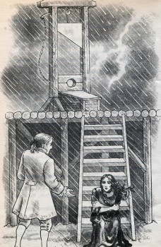 "Illustration is from the vintage book of horror stories Short and Shivery. This one accompanies a retelling of Irving's ""Adventure of the German Student."""