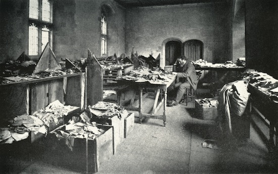 Solomon Schechter c.1898 in Cambridge studying boxes of manuscripts from Cairo. Schechter was an American-Romanian rabbi, scholar, and founder and President of the United Synagogue of America, President of the Jewish Theological Seminary of America movement. Image by © Lebrecht Authors/Lebrecht Music & Arts/Corbis