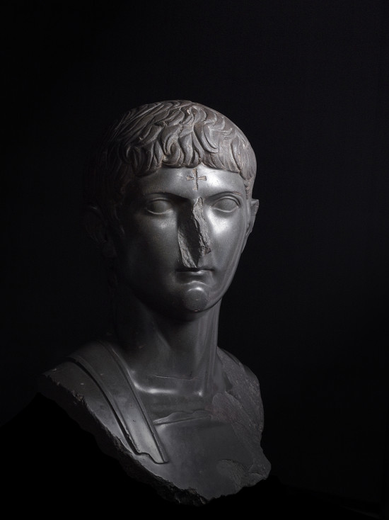 Bust of Germanicus, great-nephew of Augustus with a later Christian cross carved onto the forehead, basalt, Egypt, about AD 14–20, date of carved cross, unknown © The Trustees of the British Museum