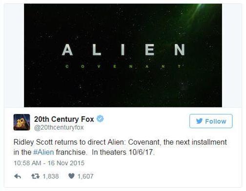 Alien Covenant tweet