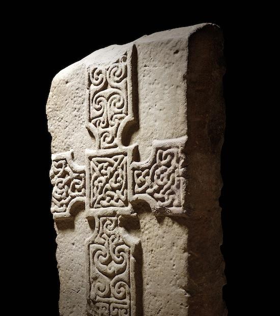 Cross-slab, Monifeith, Angus AD 700-800, stone; L 26 cm, W 30 cm, T 9cm. © National Museums Scotland, Edinburgh