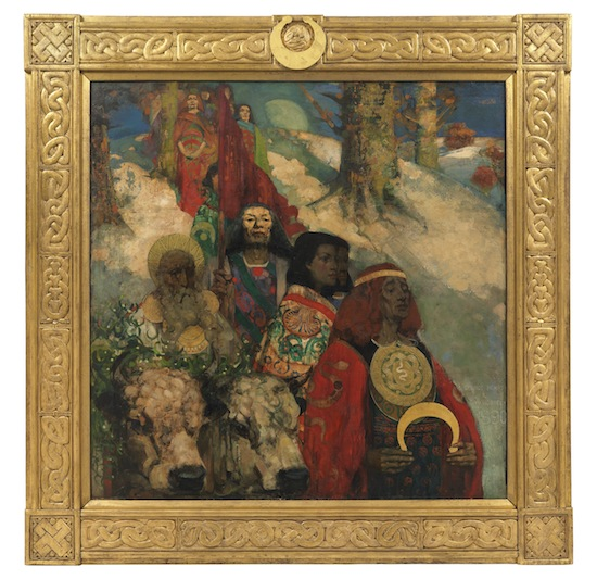 The Druids: Bringing in the Mistletoe by George Henry and Edward Atkinson Hornel. 1890, oil on canvas; 152.4 x 152.4 cm. © CSG CIC Glasgow Museums Collection.