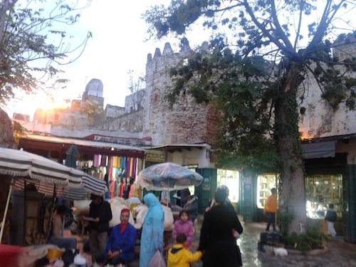 Part of the market hugs the old medina walls.