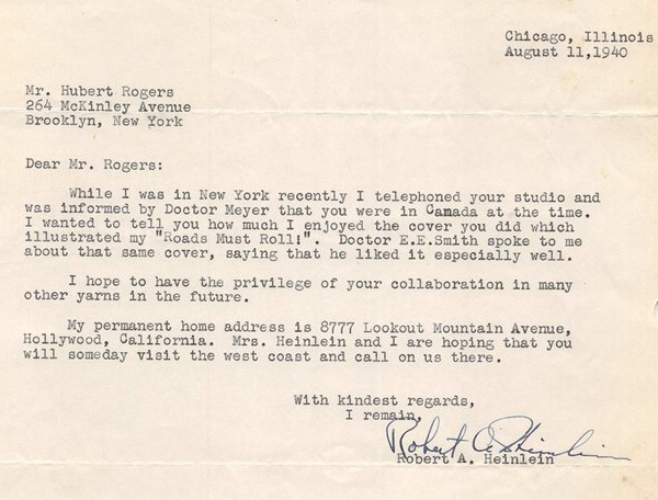 Heinlein letter to Hubert Rogers Roads Must Roll-small