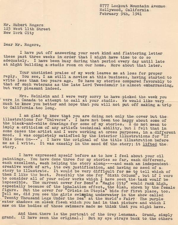 Heinlein letter to Hubert Rogers Universe-small