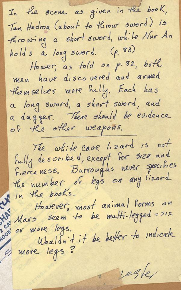 Lester Del Rey's notes for A Fighting Man of Mars by Edgar Rice Burroughs