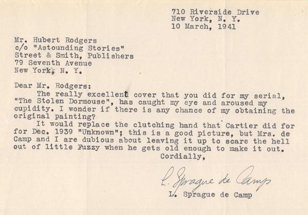 Sprague de Camp letter to Hubert Rogers-small