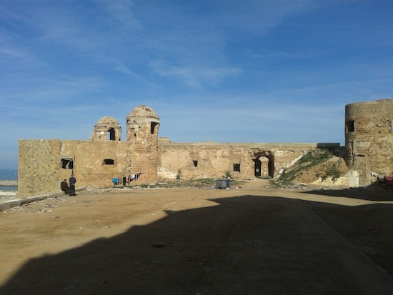 A view of the fort from the landward side, complete with laundry drying in the sun.