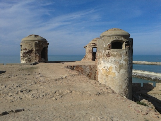 The towers on the old Spanish fort overlooking the entrance to the harbor.