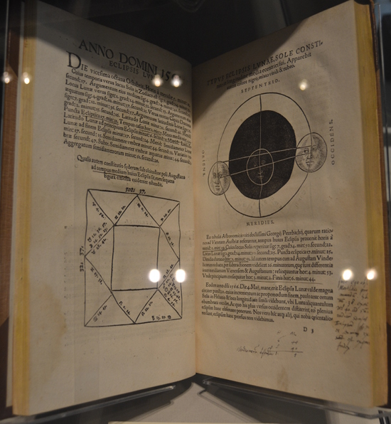Dee had many books on astronomy. In the notes he wrote in the margins of this one, he discussed the two lunar eclipses he saw in 1556 and 1566. When a comet appeared in 1577, Queen Elizabeth asked him if it was an ill omen but Dee reassured her that it wasn't.