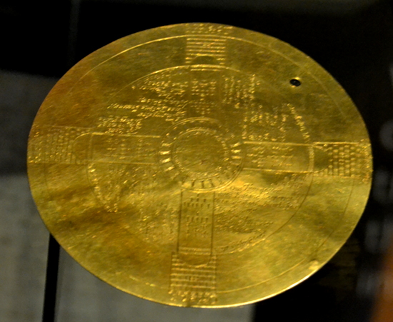"""An important part of Dee's Enochian magic system was this gold disc, inscribed with the """"Vision of the Four Castles"""", and used for communicating with angels. The vision was seen by Edward Kelley, Dee's medium."""