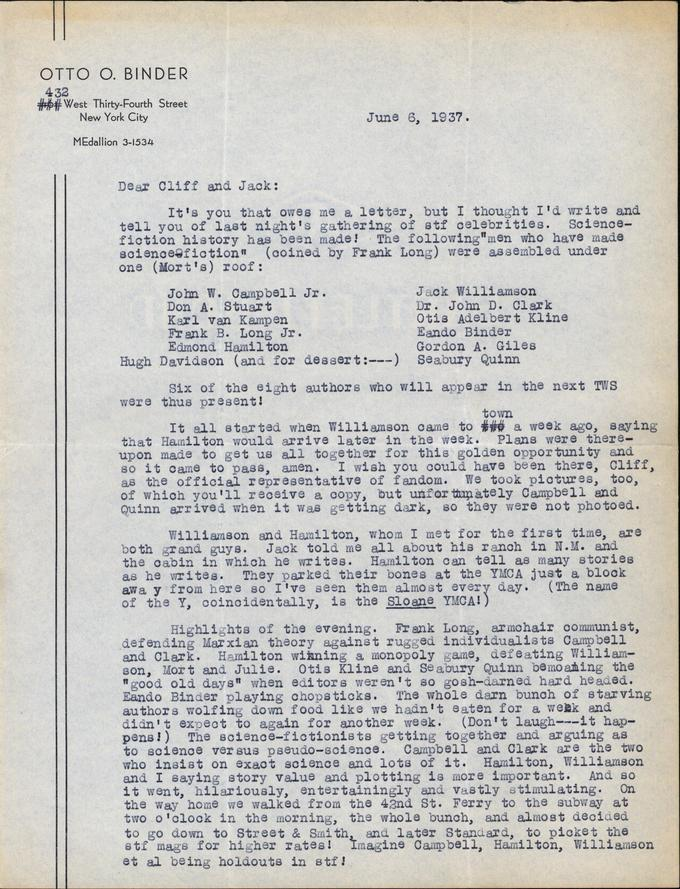 Otto Binder to Jack Darrow letter 1937 06 06 page 1-small