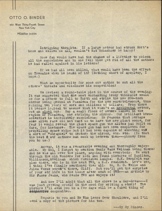 Otto Binder to Jack Darrow letter 1937 06 06 page 2-small