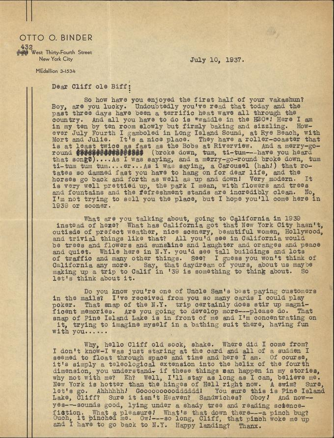 Otto Binder to Jack Darrow letter 1937 07 10 page 1-small