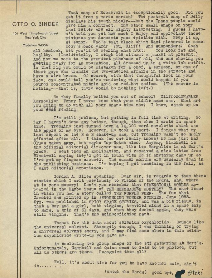 Otto Binder to Jack Darrow letter 1937 07 10 page 2-small