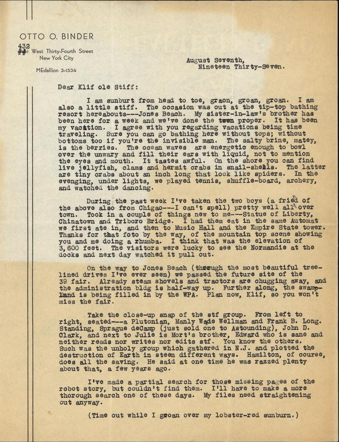 Otto Binder to Jack Darrow letter 1937 08 07 page 1-small