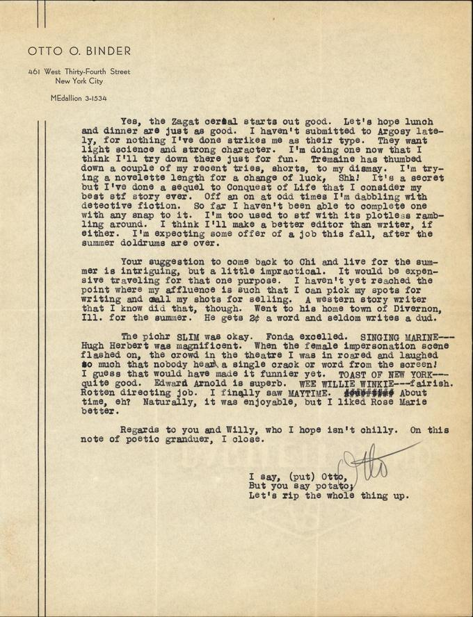 Otto Binder to Jack Darrow letter 1937 08 07 page 2-small