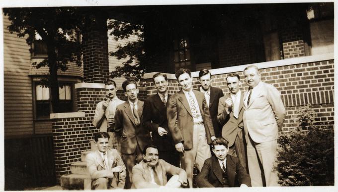 weisinger home 1937 07 - top row l to r de Camp Clark Schwartz Edward Weisinger Williamson Hamilton Kline bottom row l to r binder wellman long-small