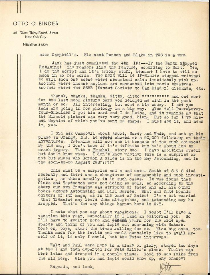 Otto Binder letter to Jack Darrow page 2