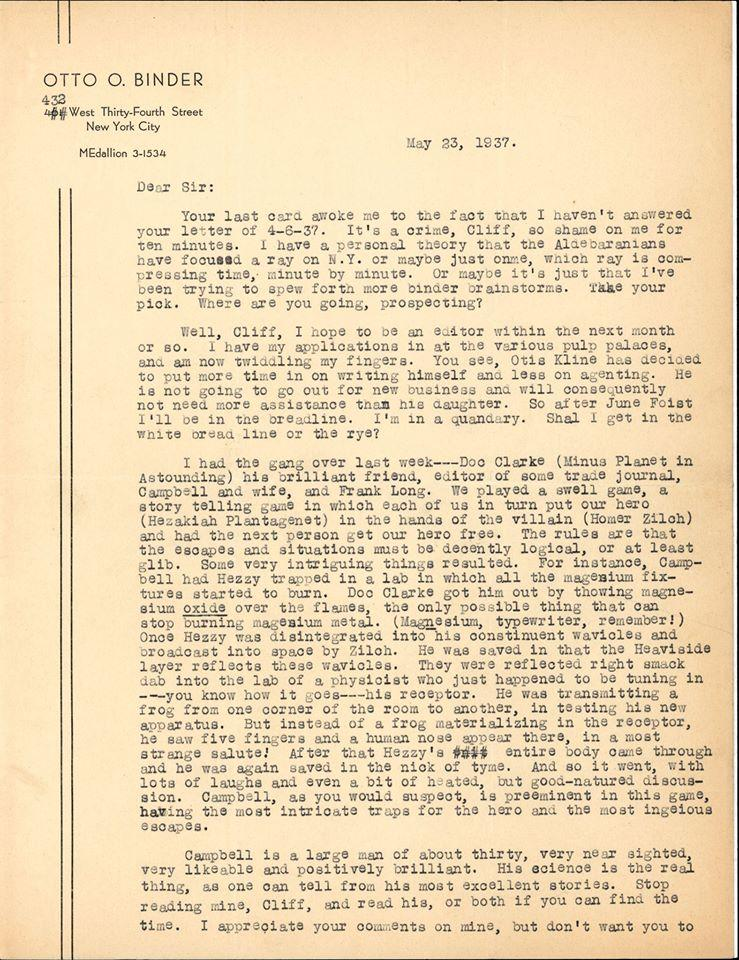 Otto Binder letter to Jack Darrow