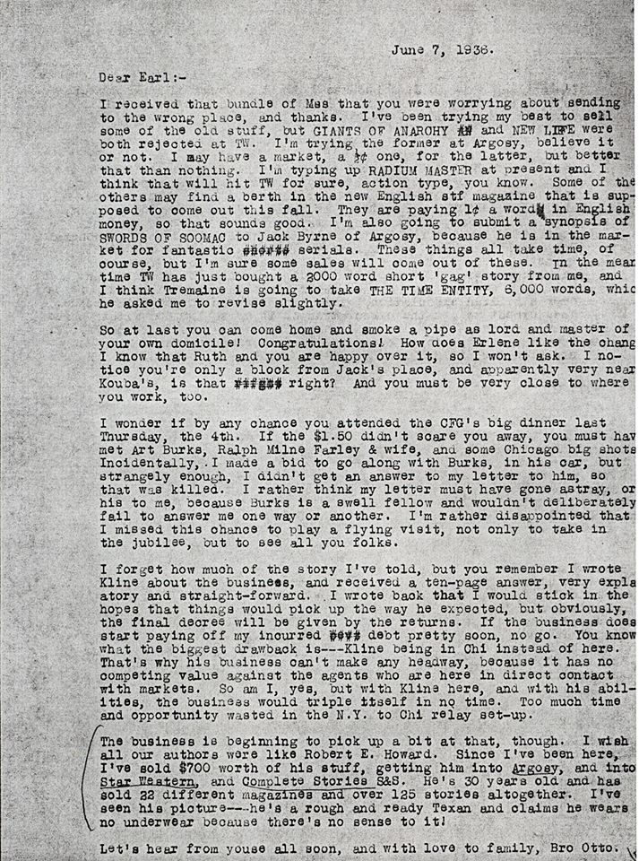 Otto Binder letter to Earl on Robert E Howard 1936