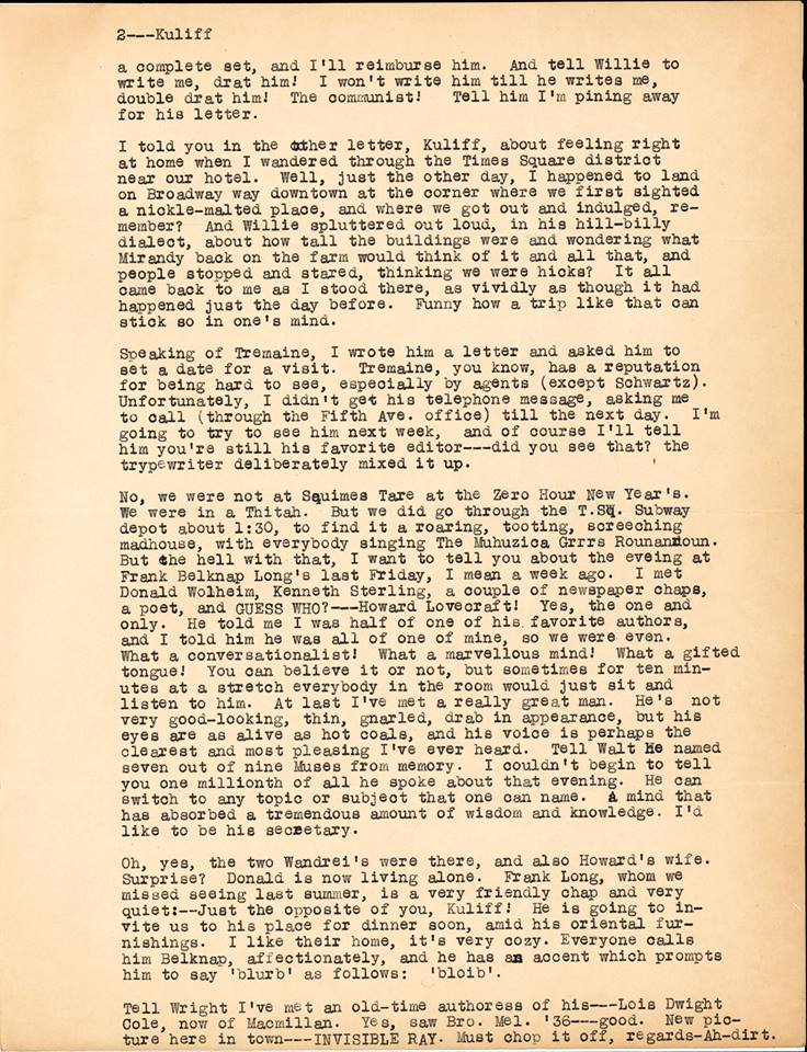 Otto Binder letter to Jack Darrow 1936 page 2