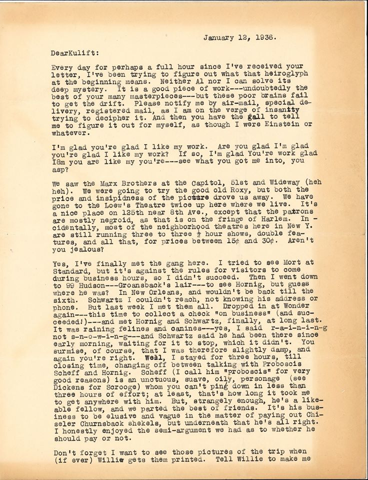 Otto Binder letter to Jack Darrow 1936