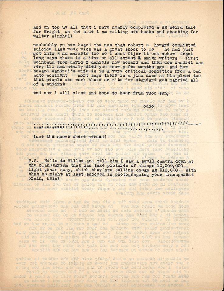 Otto Binder letter to Jack Darrow Robert E Howard suicide 1936 page 2