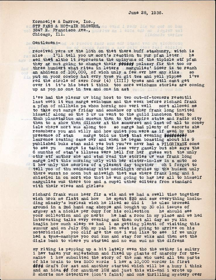 Otto Binder letter to Jack Darrow Robert E Howard suicide 1936