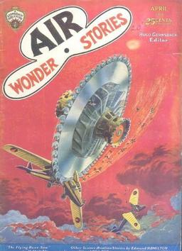 "Air Wonder Stories, April 1930, containing ""The Meteoric Magnet"" by Moses Schere (art by Paul)"