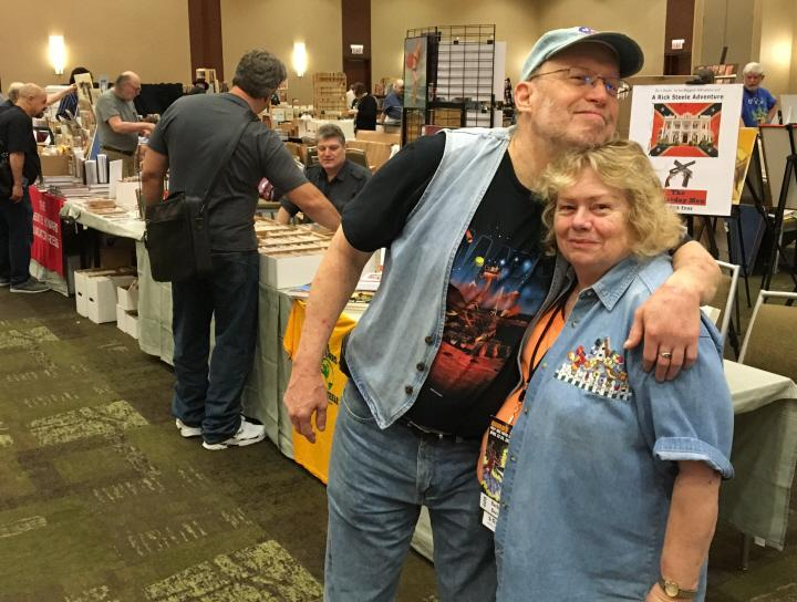 Barbara Barrett gets a hug at Windy City Pulp 2016-small