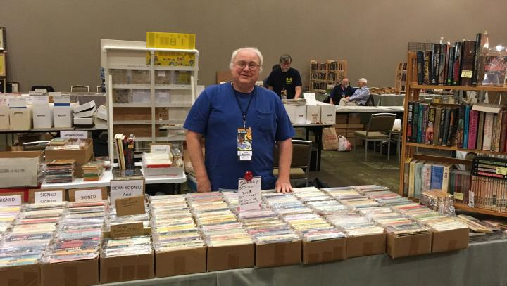 Dave Willoughby has the books you need at Windy City Pulp 2016 -small
