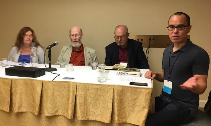 Sheila Williams Stanley Schmidt Joe Haldeman and Alec Nevala-Lee talk about the Legacy of John W Campbell-small