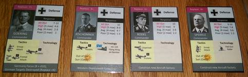 Prototype Luftwaffe commander cards.