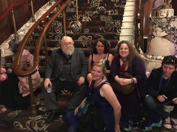 Geroge RR Martin relaxes with fans after the awards-small