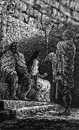 Eirik Bloodaxe is seated next to Gunnhild. Egil Skallagrimson stands.