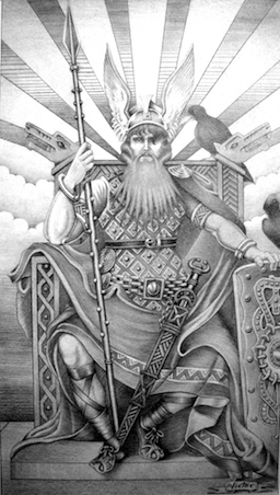 A depiction of Odin.