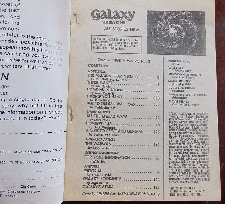 Galaxy October 1968 Table of Contents-small