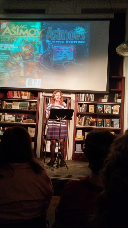 Sheila Williams speaking at Asimov's 40th Anniversary Celebration in Manhattan-small