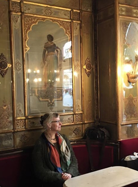 Delia Sherman at the Caffè Florian in Venice Italy