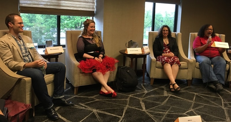 Max Gladstone, CSE Cooney, Amal El-Mohtar and K. Tempest Bradford at Wiscon-small